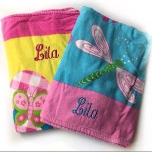 "Other - 2 Towels Embroidered ""LILA"" Dragonfly Flip Flop"